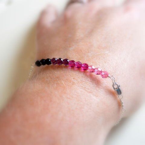 Purple,and,Pink,Crystal,Row,Bracelet,in,Sterling,Silver,jewelry, bracelet, Swarovski, crystal, black, purple, fuchsia, pink, sterling silver, delicate, dainty