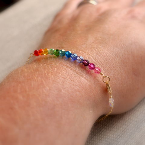 Rainbow,Crystal,Bracelet,in,Gold,jewelry, bracelet, gold, gold filled, crystal, Swarovski, rainbow, purple, blue, green, dainty, delicate