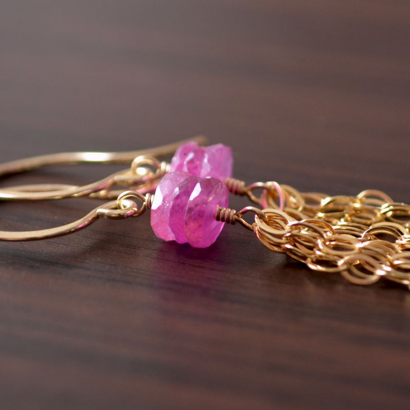 Pink Sapphire Tassel Earrings in Gold - product images  of