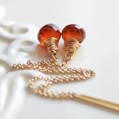 Hessonite,Garnet,Threader,Earrings,in,Gold,jewelry, earrings, threaders, hessonite garnet, burnt orange, gemstone, gold, gold filled, Autumn