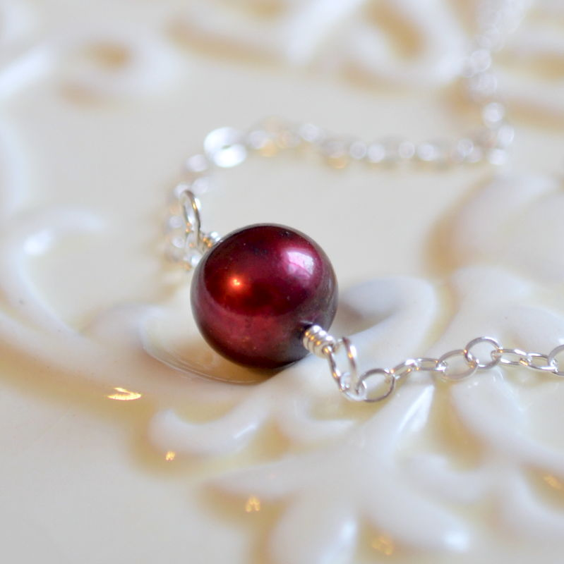 Red Pearl Choker Necklace in Sterling Silver - product images  of