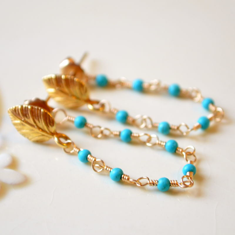 Turquoise Stone and Chain Earrings in Gold Vermeil - product images  of