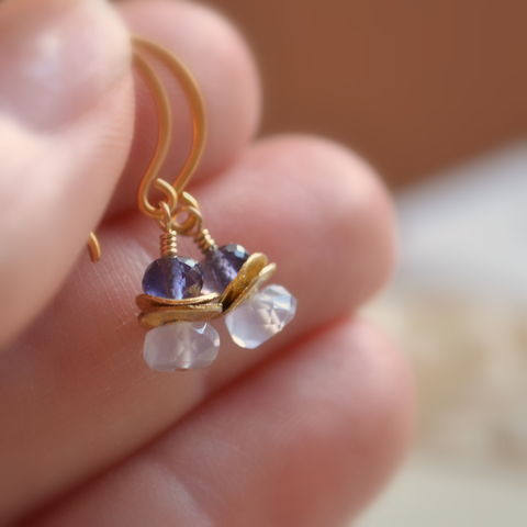 Iolite,and,Chalcedony,Earrings,in,Gold,jewelry, earrings, chalcedony, iolite, gemstone, gold, vermeil, drop, dangle, periwinkle