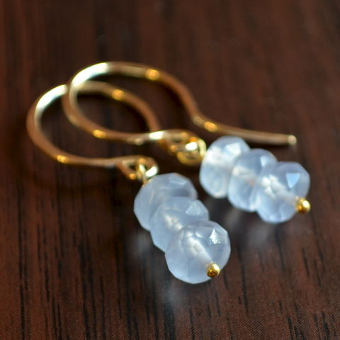 Natural,Chalcedony,Earrings,in,Gold,jewelry, earrings, gold, chalcedony, natural, gemstone, periwinkle, drop, simple, stack