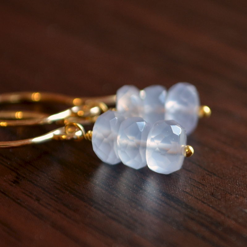 Natural Chalcedony Earrings in Gold - product images  of