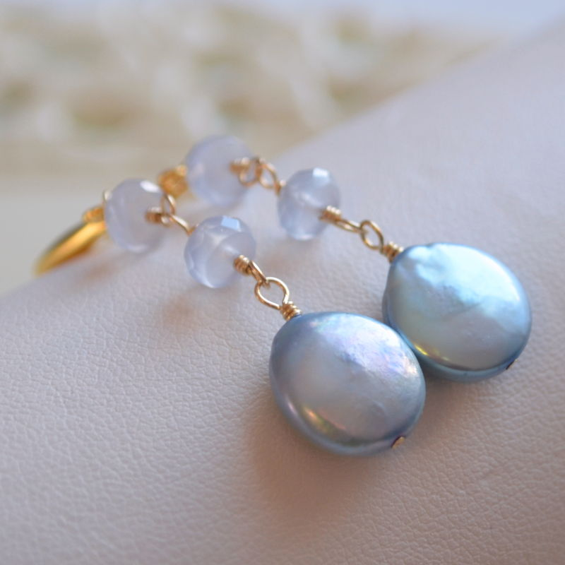 Chalcedony and Coin Pearl Earrings in Gold - product images  of