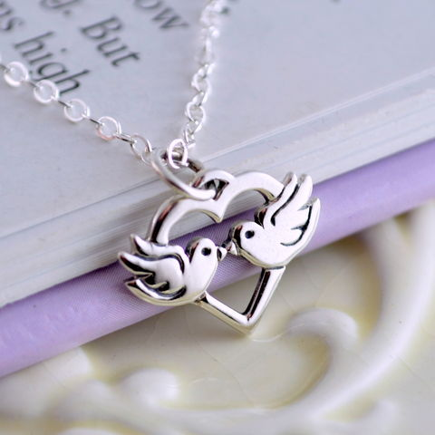 Lovebirds,Necklace,in,Sterling,Silver,for,Children,jewelry, necklace, child, children, girl, lovebird, heart, Valentine, sterling silver, birthstone