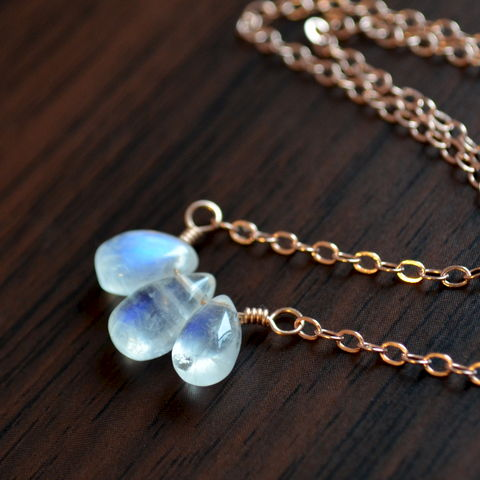 Rainbow,Moonstone,Trio,Necklace,in,Rose,Gold,jewelry, necklace, rainbow moonstone, gemstone, semiprecious, simple, delicate