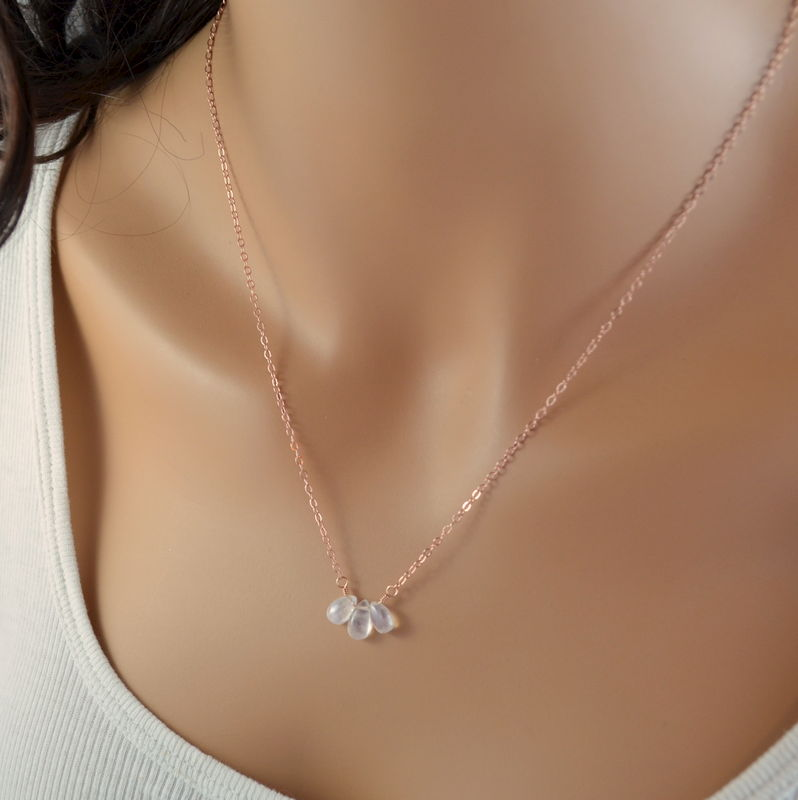 Rainbow Moonstone Trio Necklace in Rose Gold - product images  of