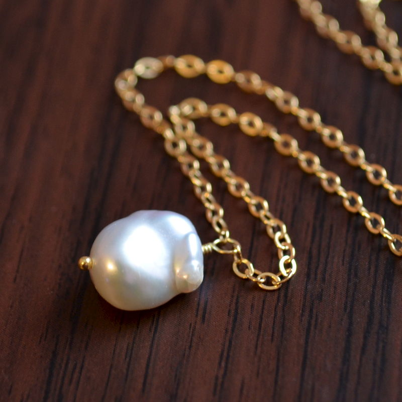 Simple Keishi Pearl Necklace in Gold - product images  of