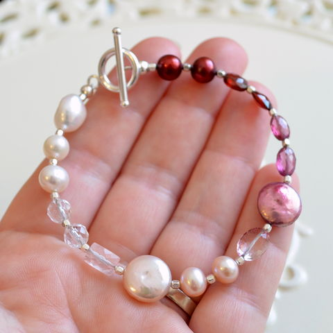 Gemstone,and,Pearl,Valentine,Bracelet,in,Sterling,Silver,jewelry, bracelet, beaded, Valentine, garnet, freshwater pearl, rose quartz, pink topaz, sterling silver