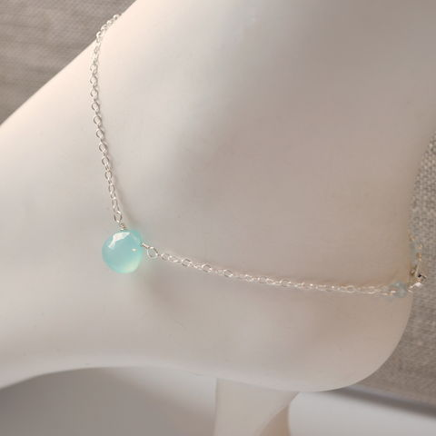 Aqua,Chalcedony,Anklet,in,Sterling,Silver,jewelry, anklet, sterling silver, chain, chalcedony, gemstone, aqua, blue, simple, dainty, delicate