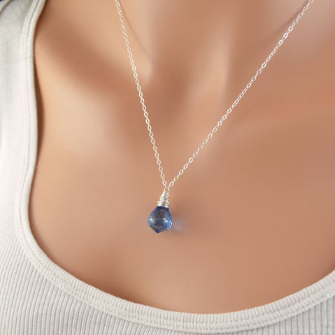 Simple,London,Blue,Topaz,Necklace,in,Sterling,Silver,jewelry, necklace, london blue topaz, sterling silver, simple, pendant, AAA gemstone, genuine, real