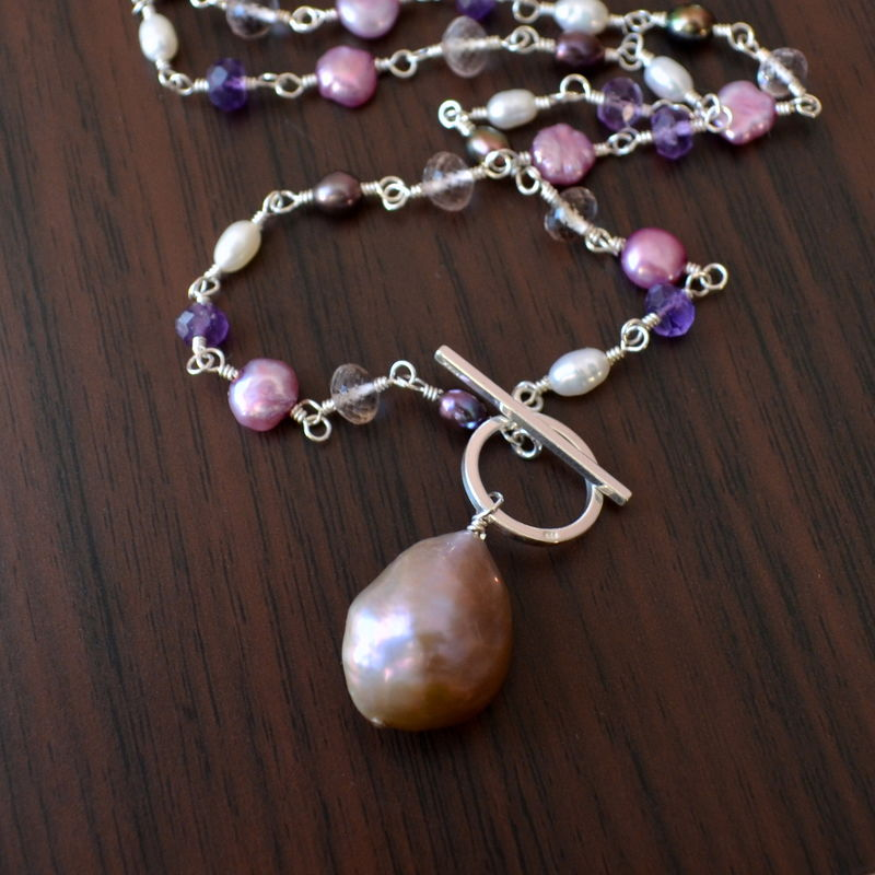 Pearl Toggle Necklace with Amethyst and Ametrine in Sterling Silver - product images  of