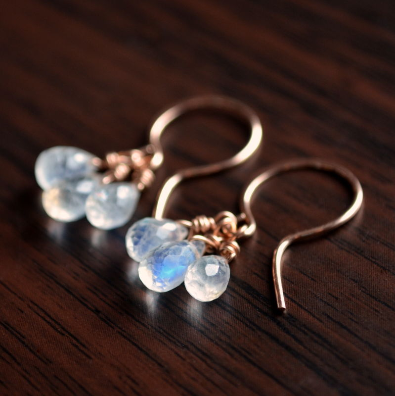 Rainbow Moonstone Earrings in Rose Gold - product images  of