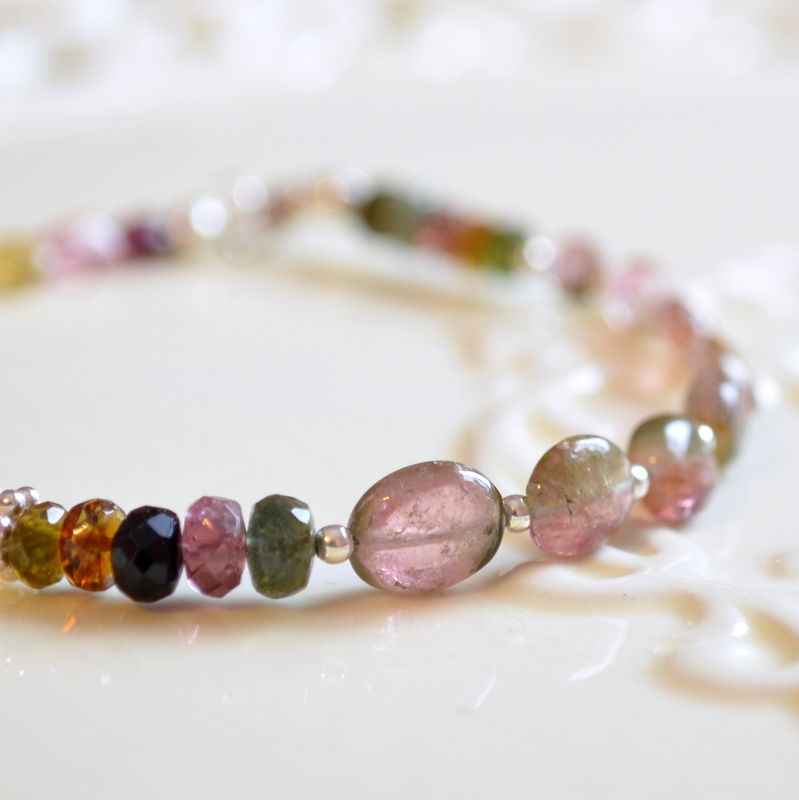 Watermelon Tourmaline Beaded Bracelet in Sterling Silver - product images  of