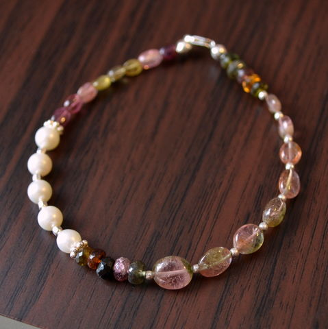 Watermelon,Tourmaline,Beaded,Bracelet,in,Sterling,Silver,jewelry, bracelet, tourmaline, gemstone, watermelon, beaded, freshwater pearl, sterling silver, asymmetrical