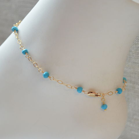 Genuine,Turquoise,Anklet,in,Gold,jewelry, anklet, turquoise, genuine, gemstone, real, blue, gold, gold filled