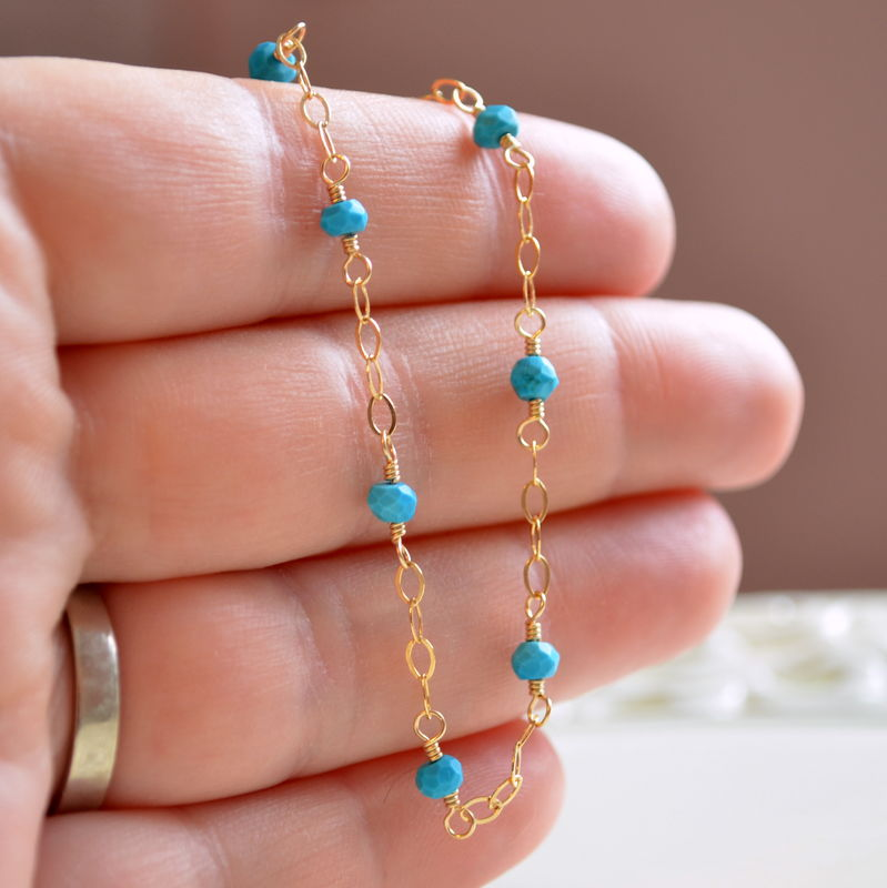 Genuine Turquoise Anklet in Gold - product images  of