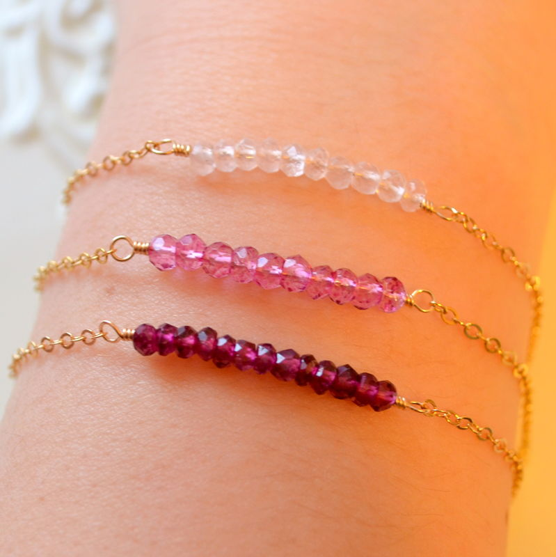 Pink Stacking Bracelet Set in Gold - product images  of