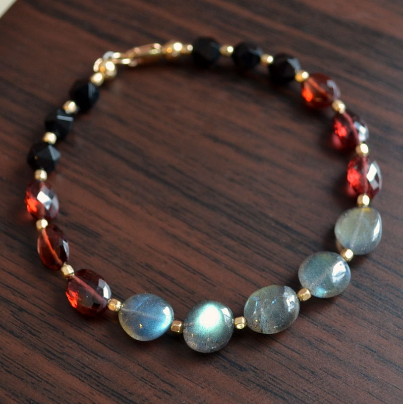 Beaded Labradorite Garnet and Black Onyx Bracelet - product images  of