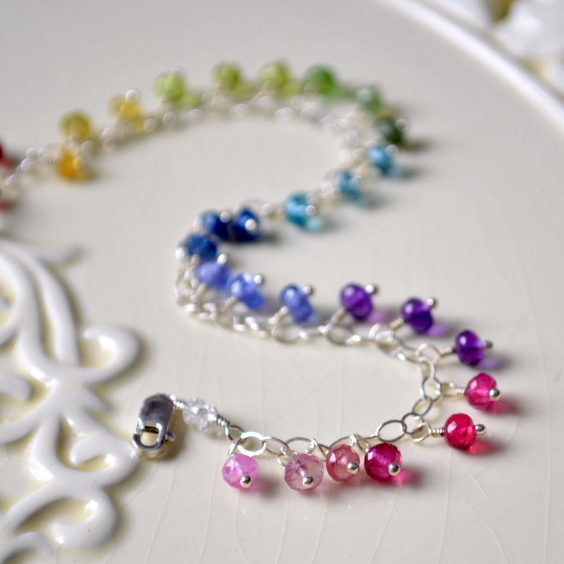 Rainbow Gemstone Bracelet in Sterling Silver - product images  of