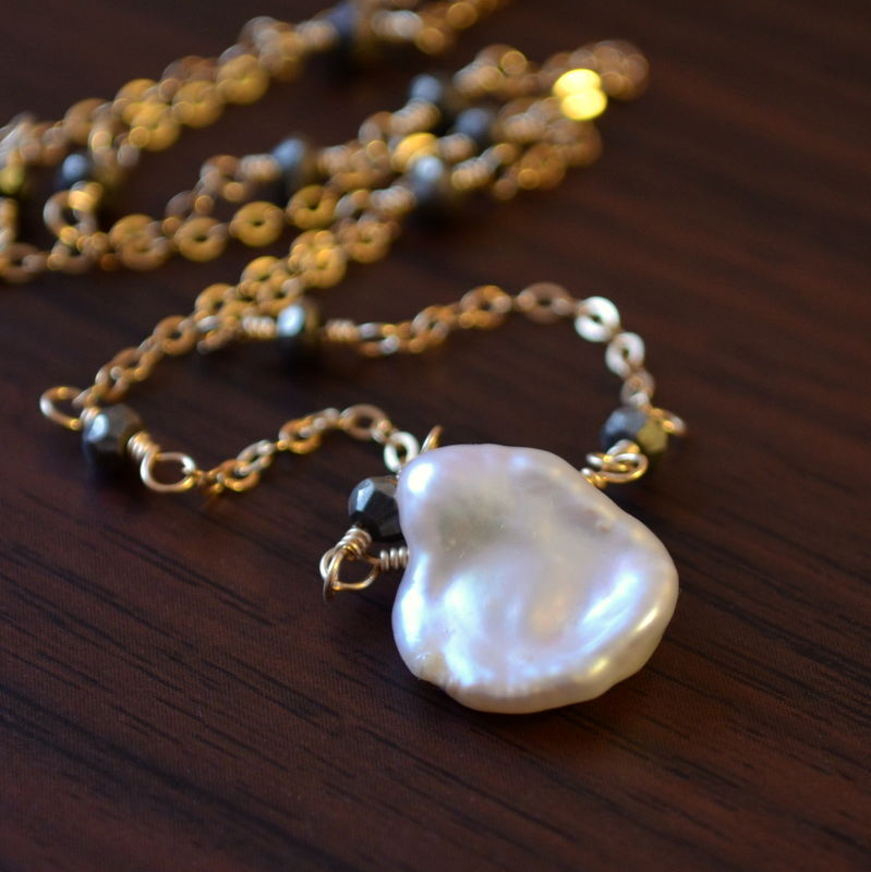 Keishi Pearl Necklace with Pyrite in Gold - product images  of