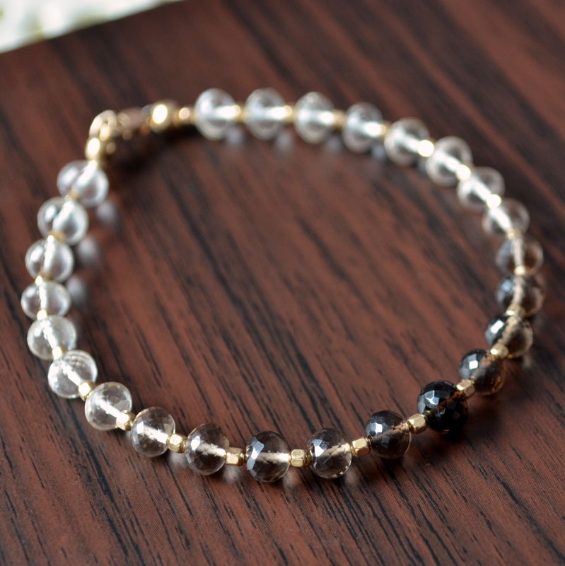 Smoky Quartz Beaded Bracelet in Gold - product images  of