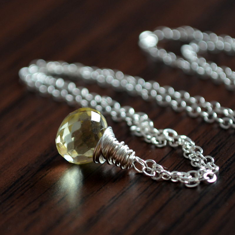 Simple Lemon Quartz Necklace in Sterling Silver - product images  of