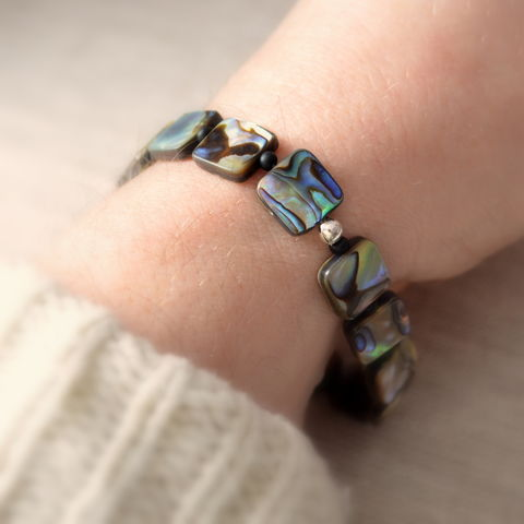 Abalone,Stretch,Bracelet,jewelry, bracelet, abalone, paua shell, stretch, summer, beach, sterling silver