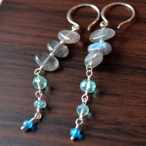 Labradorite,and,Apatite,Earrings,in,Sterling,Silver,jewelry, earrings, labradorite, long, gemstone, apatite, aqua, grey, sterling silver, dangle, Asian