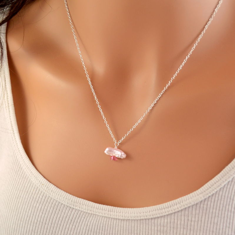 Pink Biwa Pearl Necklace with Pink Topaz in Silver Plate - product images  of