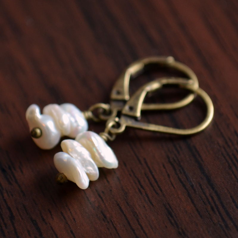 White Keishi Pearl Earrings in Antiqued Brass - product images  of