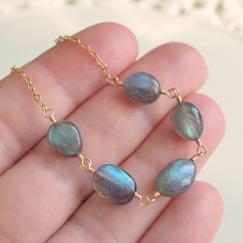 Smooth Labradorite Necklace in Gold - product images  of