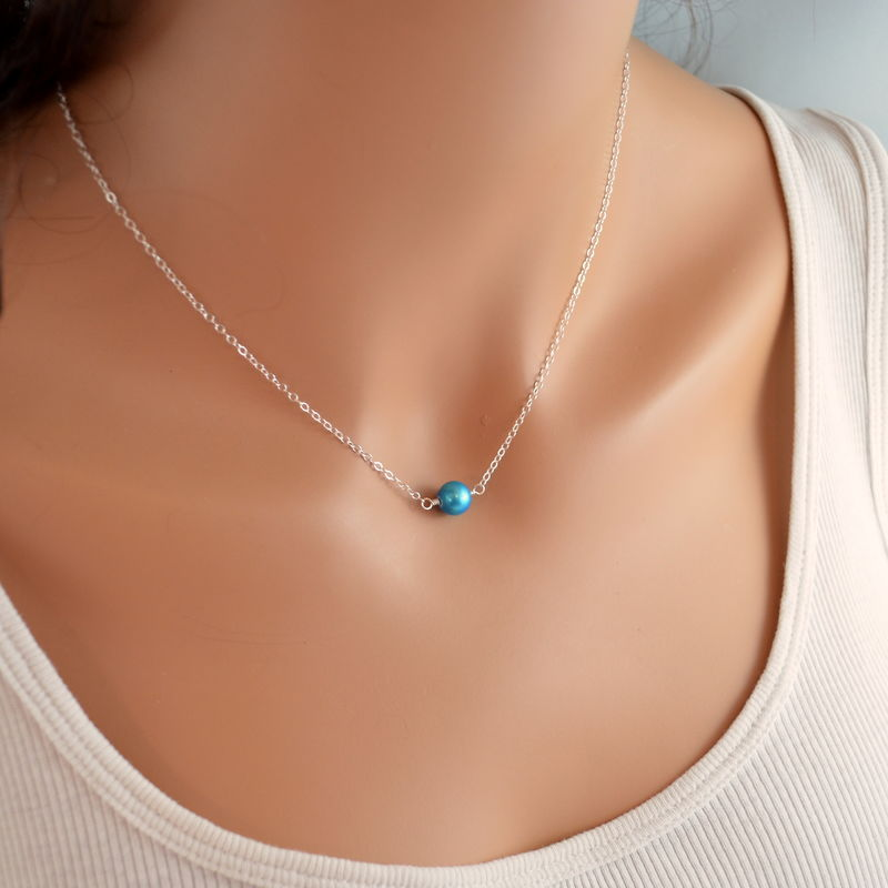 Pearl Choker Necklace in Bright Aqua, Sterling Silver - product images  of