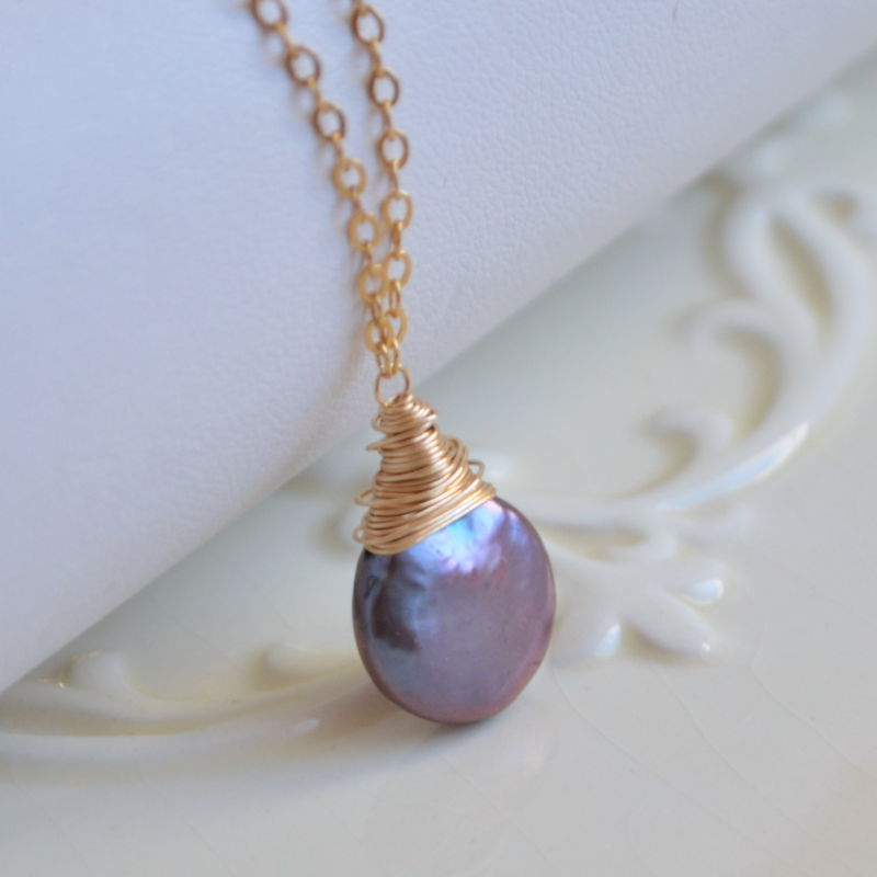 Wire Wrapped Peacock Pearl Necklace in Gold - product images  of