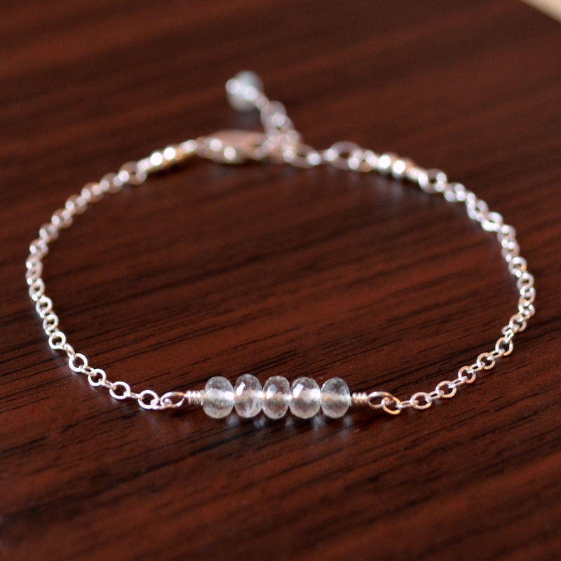 Aquamarine Row Bracelet for Girls in Sterling Silver - product images  of