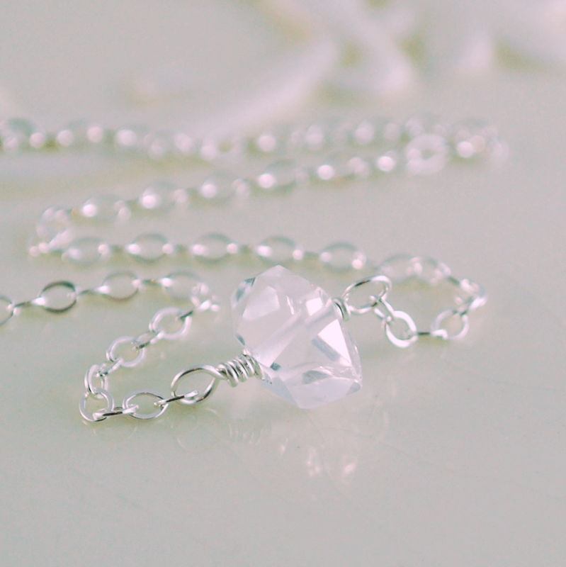 Herkimer Diamond Necklace Choker in Sterling Silver - product images  of