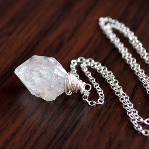 Herkimer,Diamond,Necklace,in,Sterling,Silver,or,Gold,jewelry, necklace, herkimer diamond, quartz, raw, crystal, sterling silver, gold, simple, pendant