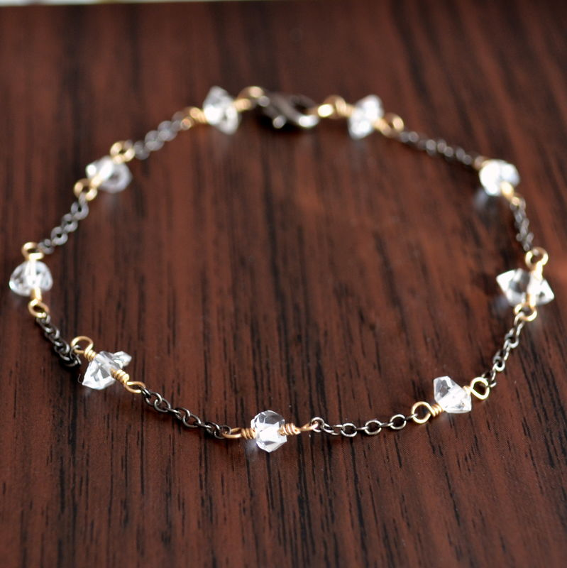 Herkimer Diamond Bracelet in Mixed Metals - product images  of