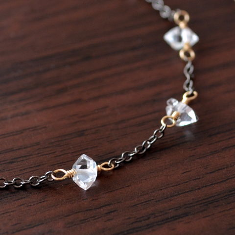 Herkimer,Diamond,Bracelet,in,Mixed,Metals,jewelry, bracelet, herkimer diamond, quartz, dainty, clear, black, gunmetal, gold, mixed metals
