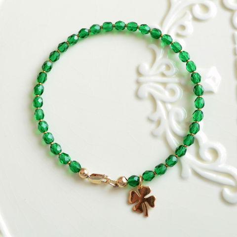 Green,Glass,Bracelet,for,St.,Patrick's,Day,jewelry, bracelet, glass, czech, emerald green, St Patricks Day, shamrock, gold