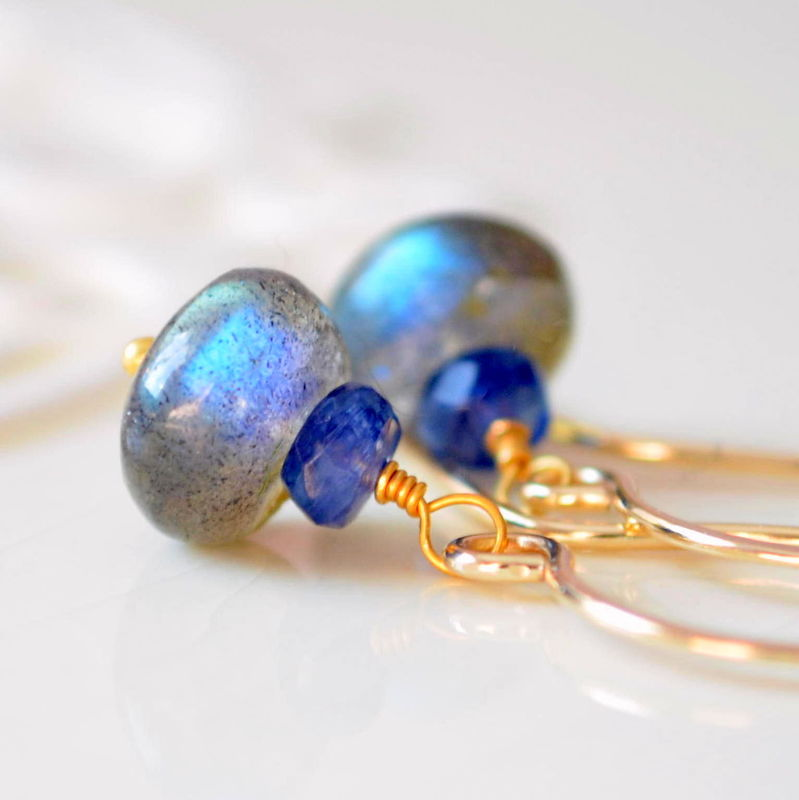 Kyanite and Labradorite Drop Earrings in Gold - product images  of