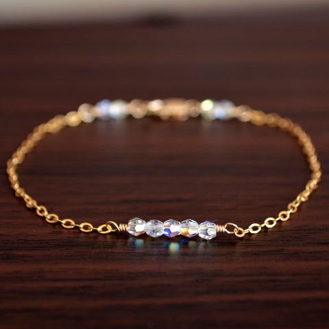 Swarovski,Crystal,Row,Bracelet,in,Gold,jewelry, bracelet, crystal, Swarovski, gold filled, delicate, dainty, row, clear AB