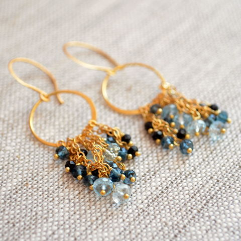 London,Blue,Topaz,and,Black,Spinel,Chandelier,Earrings,in,Gold,jewelry, earrings, chandelier, gold, vermeil, london blue topaz, black spinel, gemstone