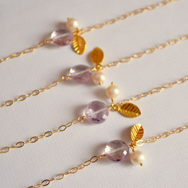 Pink Amethyst Bridesmaid Bracelets in Gold - product images  of