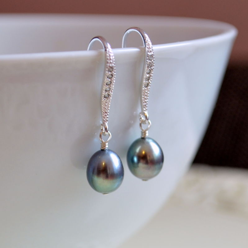Peacock Pearl Earrings in Sterling Silver - product images  of