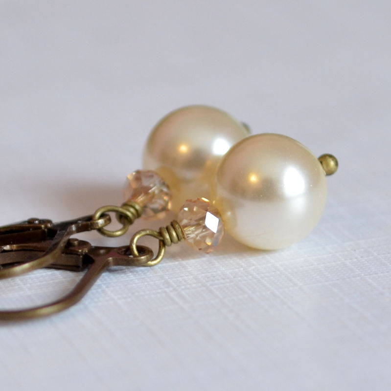 Ivory Pearl Bridal Earrings in Antiqued Brass - product images  of