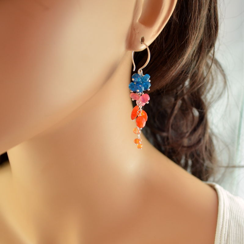 Long Cluster Earrings with Apatite and Carnelian in Sterling Silver - product images  of