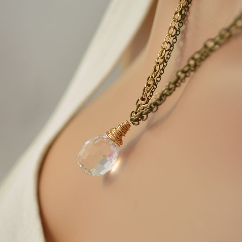Clear Crystal Necklace in Mixed Metals - product images  of